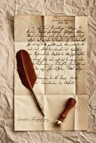 old letter with vintage feather quill