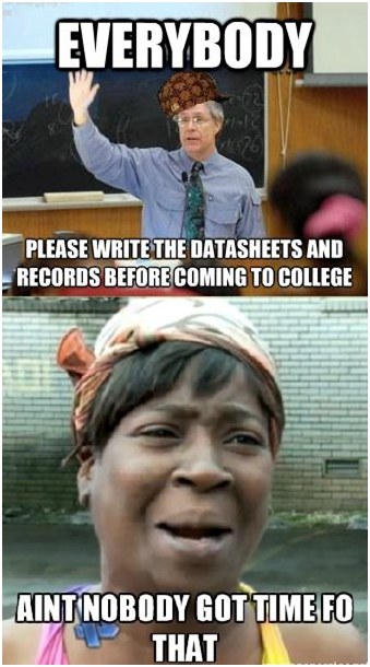 write data sheets