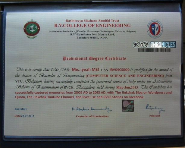 RVCE provisional degree certificate